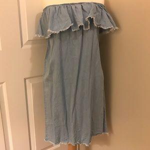 Denim strapless dress!